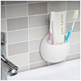 Bathroom,Shower Kitchen Suction Cup Wall Mounted Toothbrush Holder Wall Stand Hook White