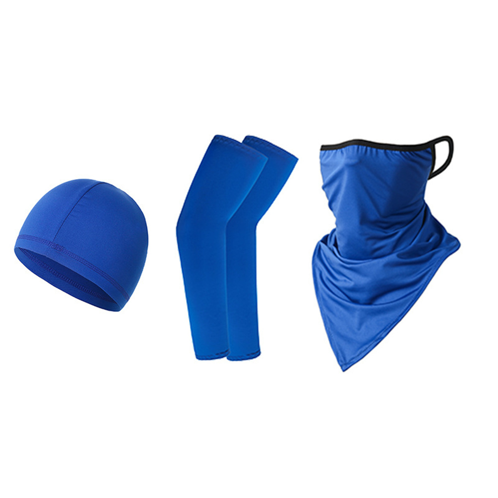 Ice Silk Sunscreen  Set Printing Neck Protector Triangle Scarf+sleeves+hat Royal Blue_One size