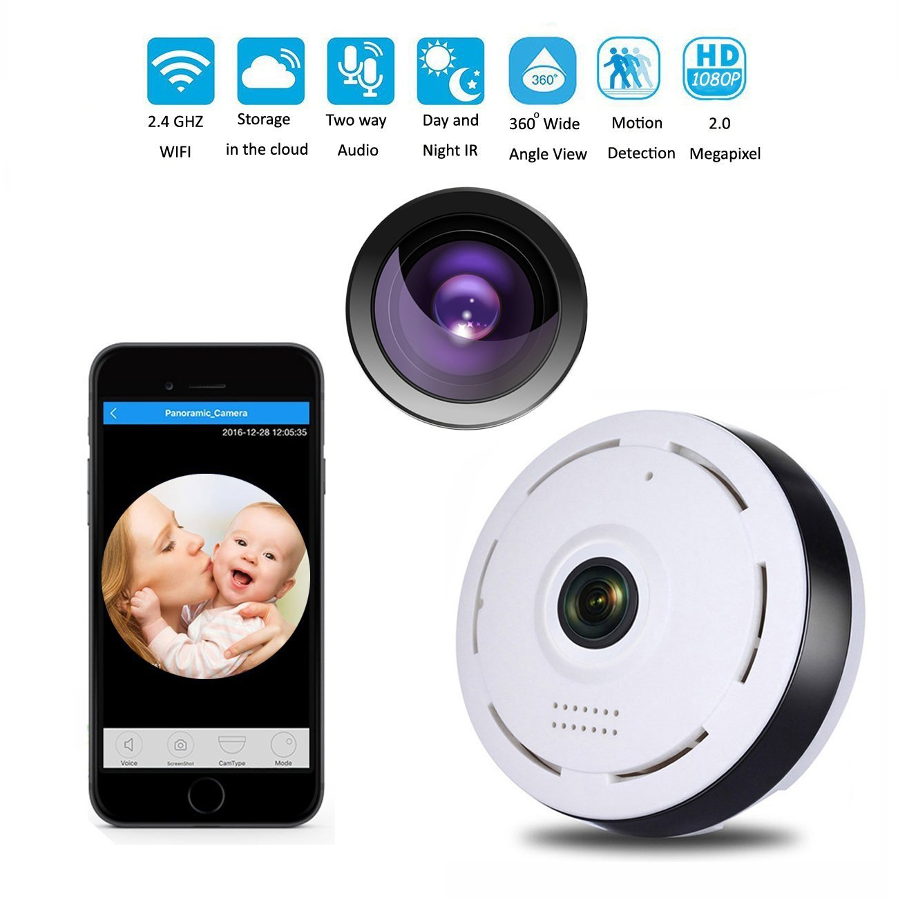 WiFi Wireless Panoramic Camera HD 360 Degree Night Vision Fisheye Security Camera white_US plug