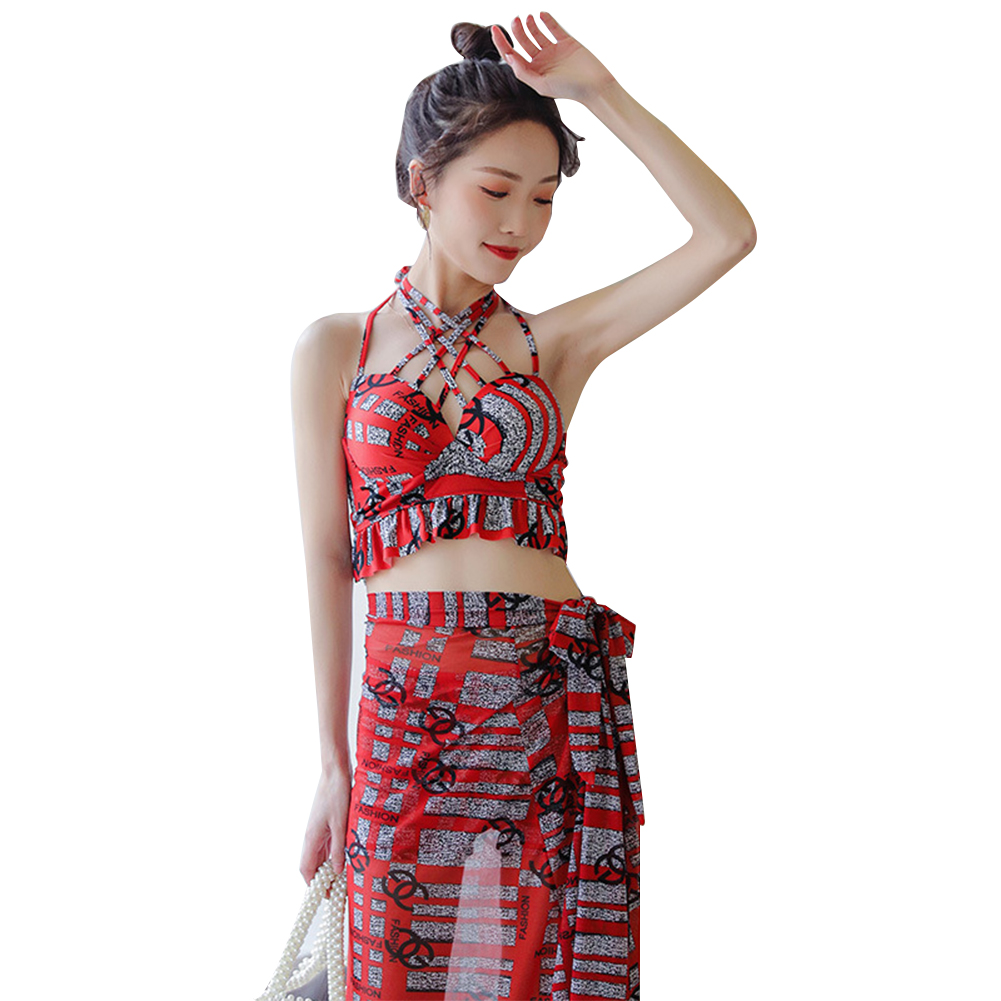 3 Pcs/set Women Swimming Suit Fashionable Slimming Hanging Neck Bathing Swimwear red_M