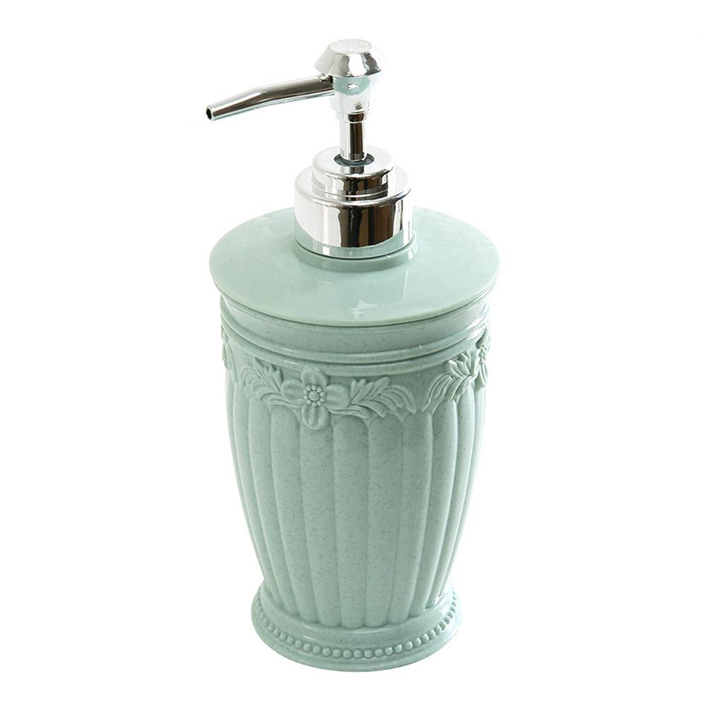 400ML European-style Carved Shower Gel Divided Empty Bottle Hand Sanitizer Shampoo Dispenser Round light blue