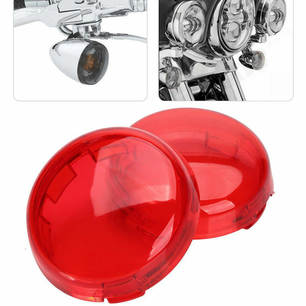 2pcs Motorcycle Turn Signals Light Lens Cover For Touring Road King Sportster 883 1200 Iron XL Softail Heritage red