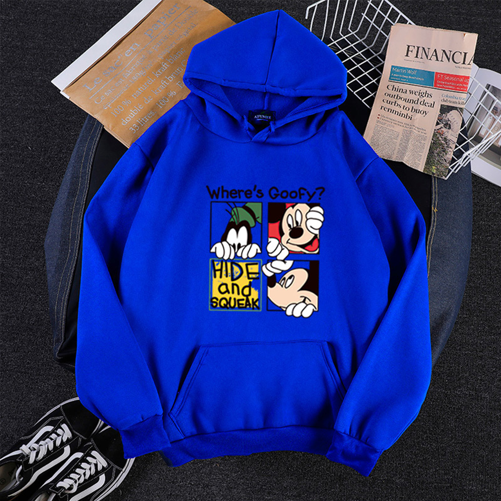 Men Women Hoodie Sweatshirt Cartoon Micky Mouse Thicken Autumn Winter Loose Pullover Blue_M