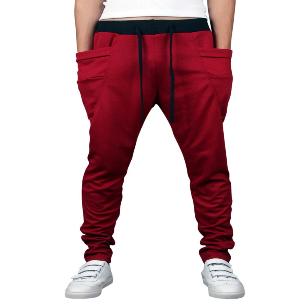 Men Solid Color Middle Waist Casual Harem Pants Wine red_XL (32-33)