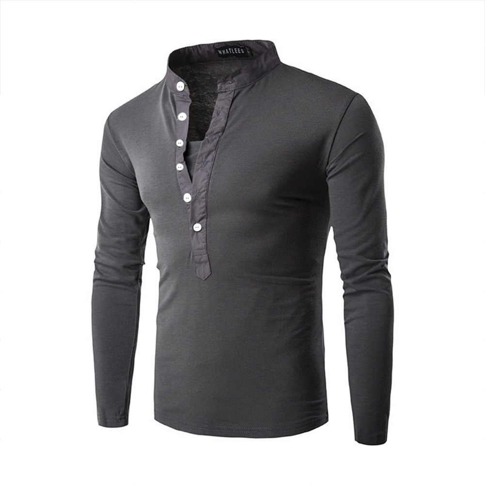 Men Fashion Shirt Slim Fit Casual Long Sleeve Pullover Tops Dark gray_L