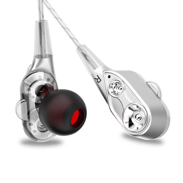 In-Ear Wired Earphone High Bass Dual Drive Stereo Earphones with Microphone Computer Earbuds for Phone Sports Silver