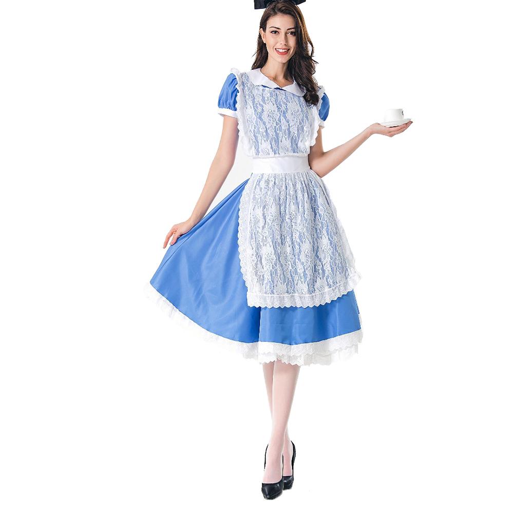 Women Halloween Costume Maid Uniform Beer Festival Waitress Dress 1185_M