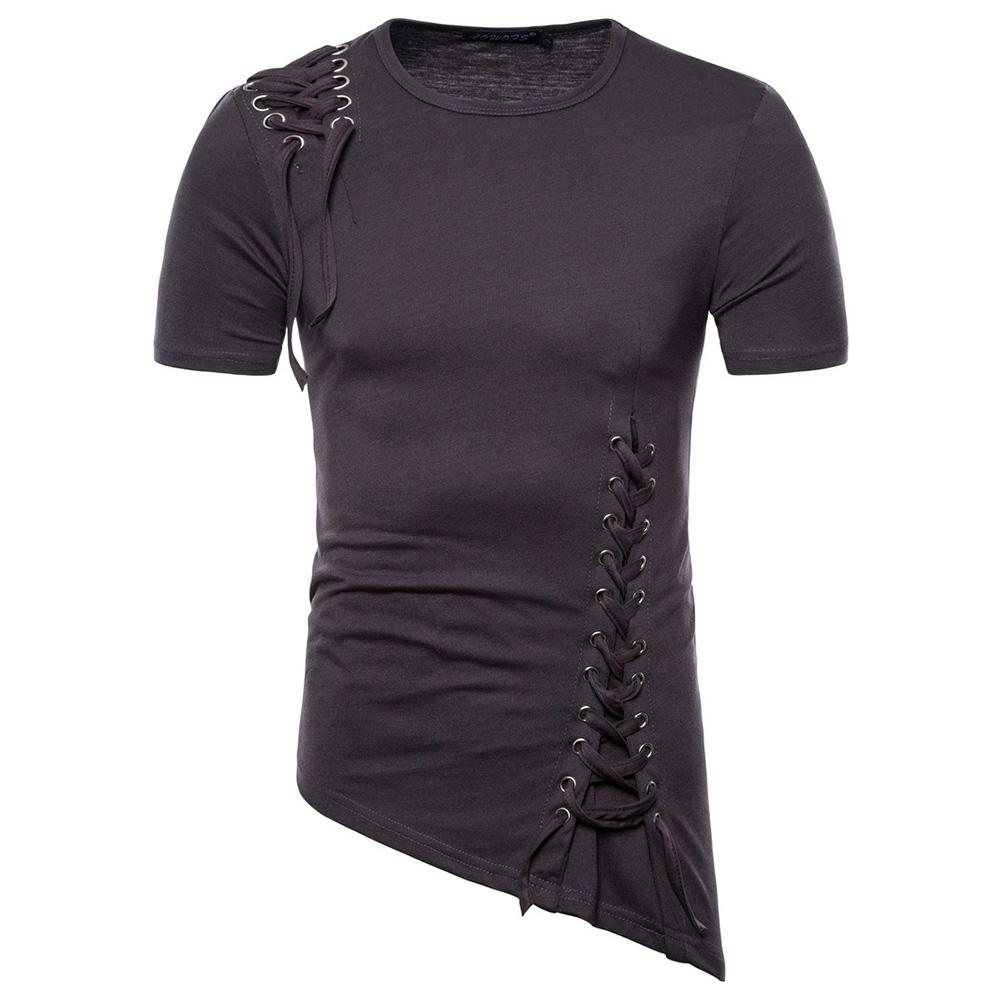 Men Casual Slim Short Sleeve T-Shirt Unique Irregular Hem Braided Rope Tops Dark grey_XXL