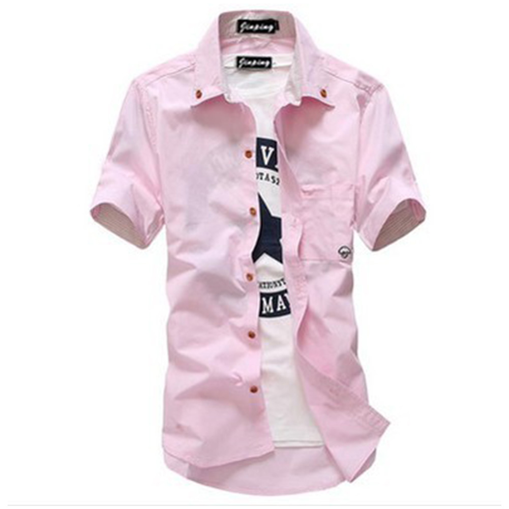 Short Sleeves Shirt Single-breasted Top with Pocket Leisure Cardigan for Man Pink_XXL