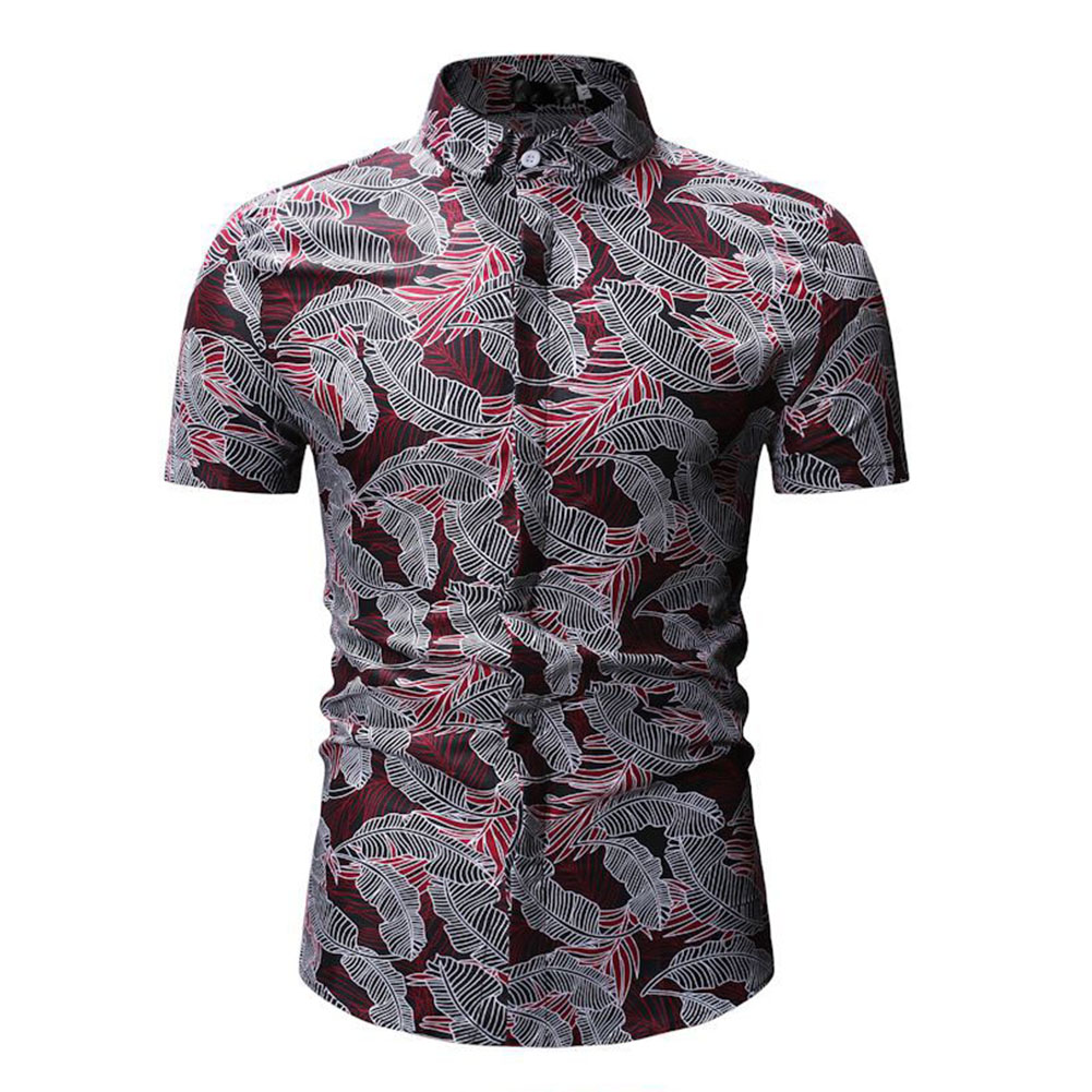 Men Summer Casual Loose Short Sleeve Hawaii Beach Shirt for Travel Wear red_L