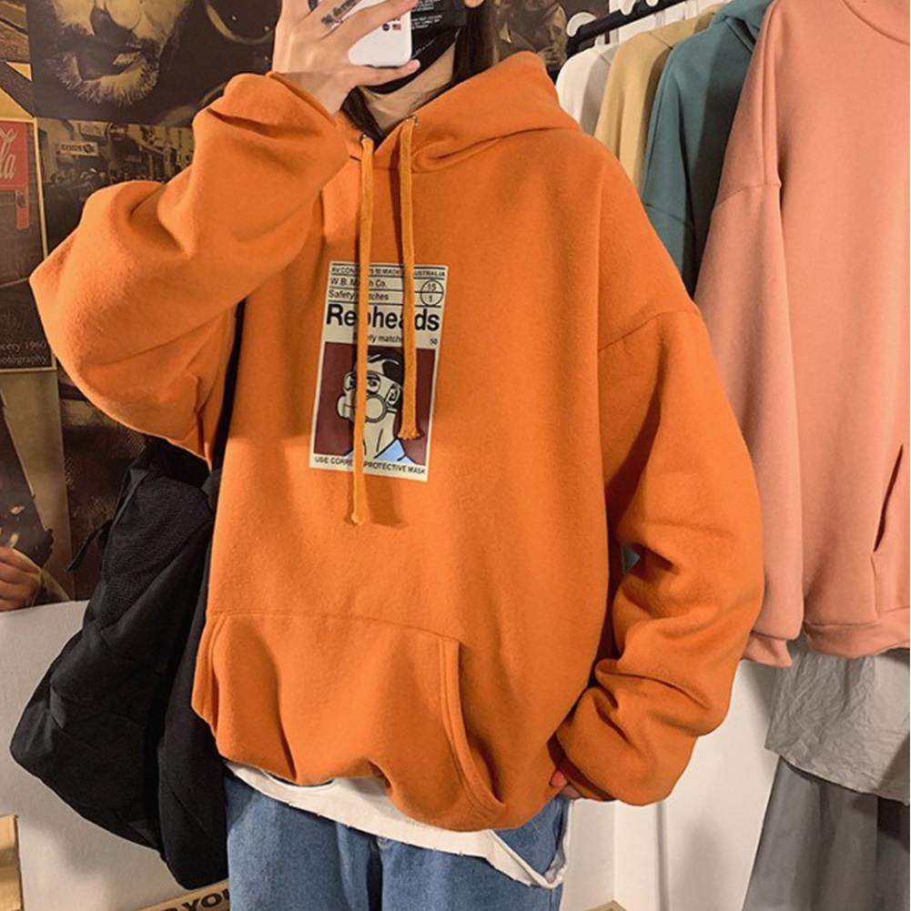 Fleece Hoodies Sweater Thicken Hooded Sweatshirts Casual Loose Pullover for Man Orange_M