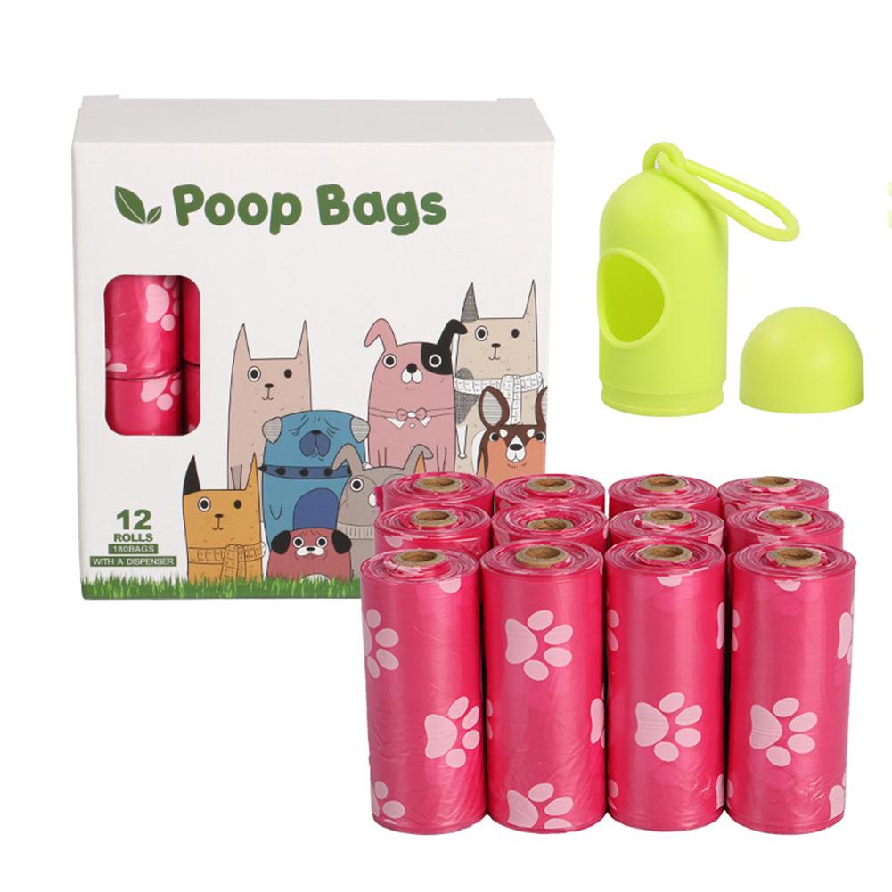 Epi Degradable Pet Garbage  Bag Dog Poop Picking Pouch Pet Supplies 12 rolls powder + dispenser_23*33cm/ 15 pieces per roll