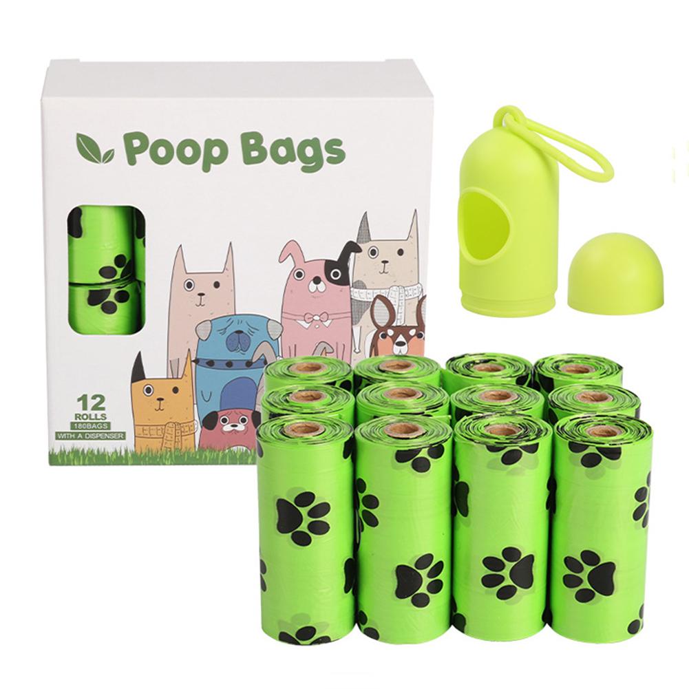 Epi Degradable Pet Garbage  Bag Dog Poop Picking Pouch Pet Supplies 12 rolls green + dispenser_23*33cm/ 15 pieces per roll