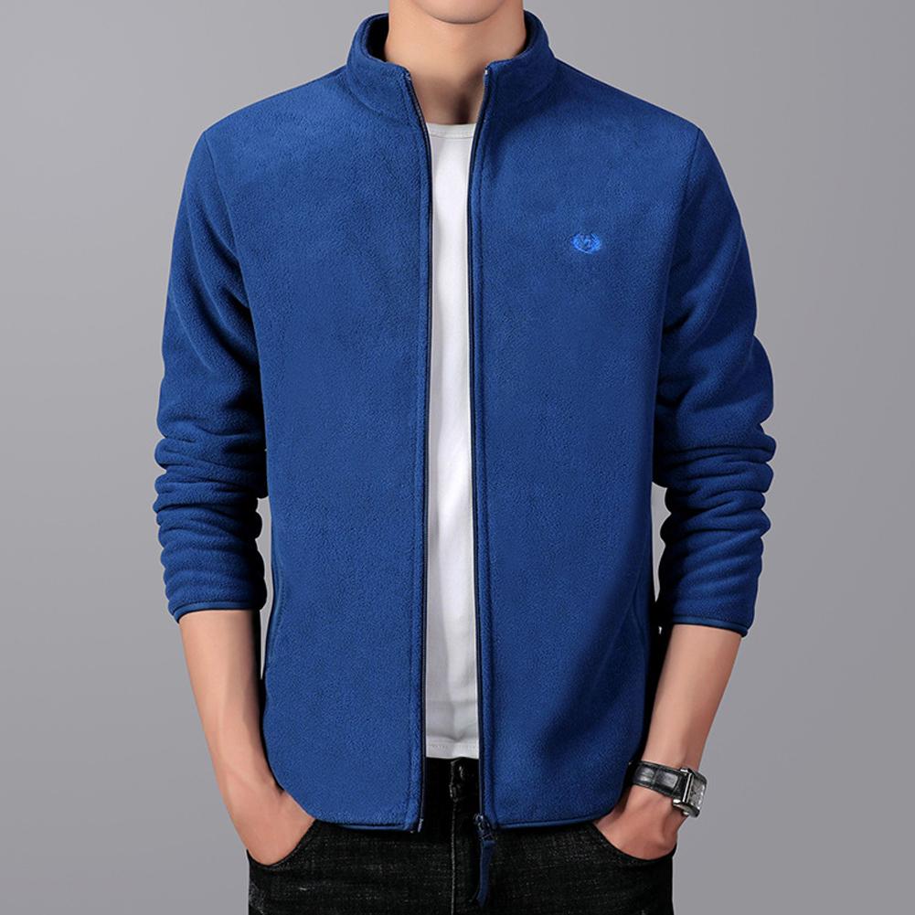 Men Autumn Winter Casual Stand-up Collar Cotton Blend Jacket Coat Top blue_M