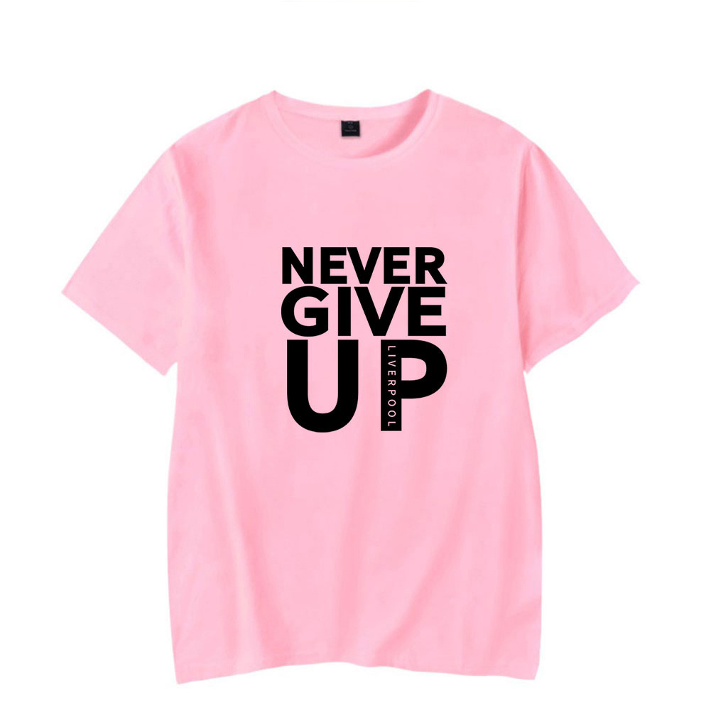 Men Women Summer Casual NEVER GIVE UP Letter Printing Short Sleeve Loose T-shirt Pink_XXXL