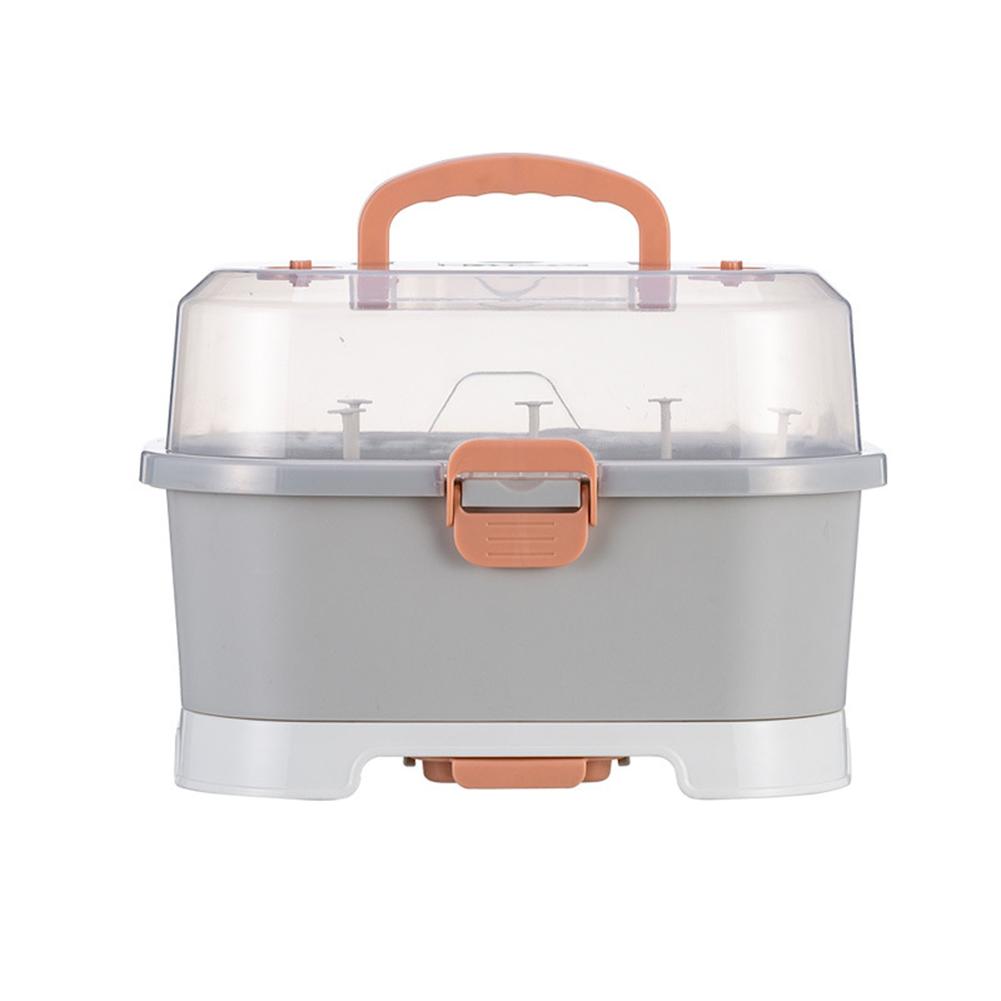 Pp Baby Bottle Storage Box Portable Easy To Clean Drain Storage  Box gray