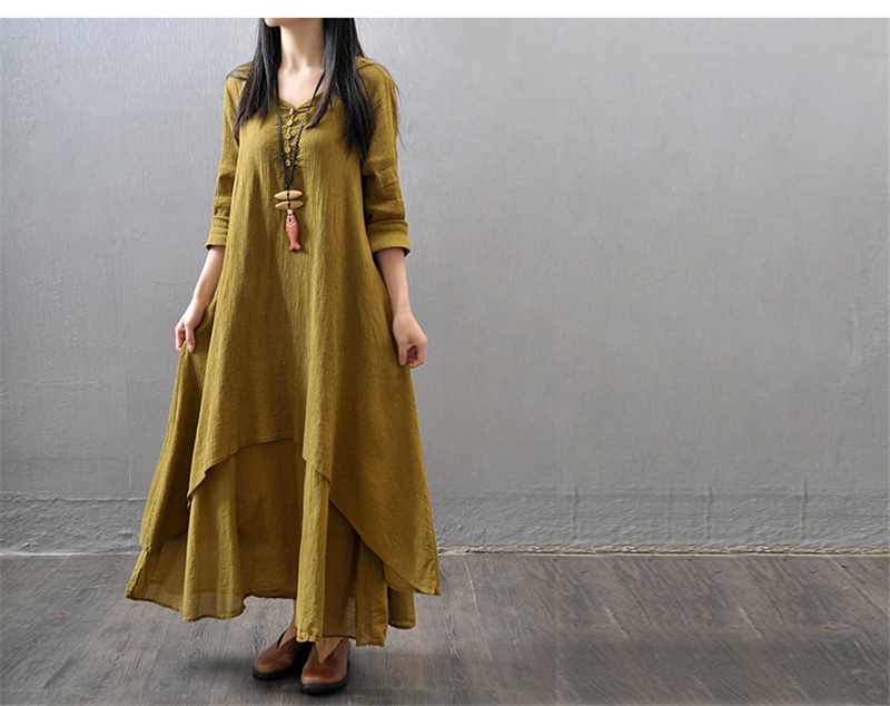 Women Fake 2-piece Loose Long Dress