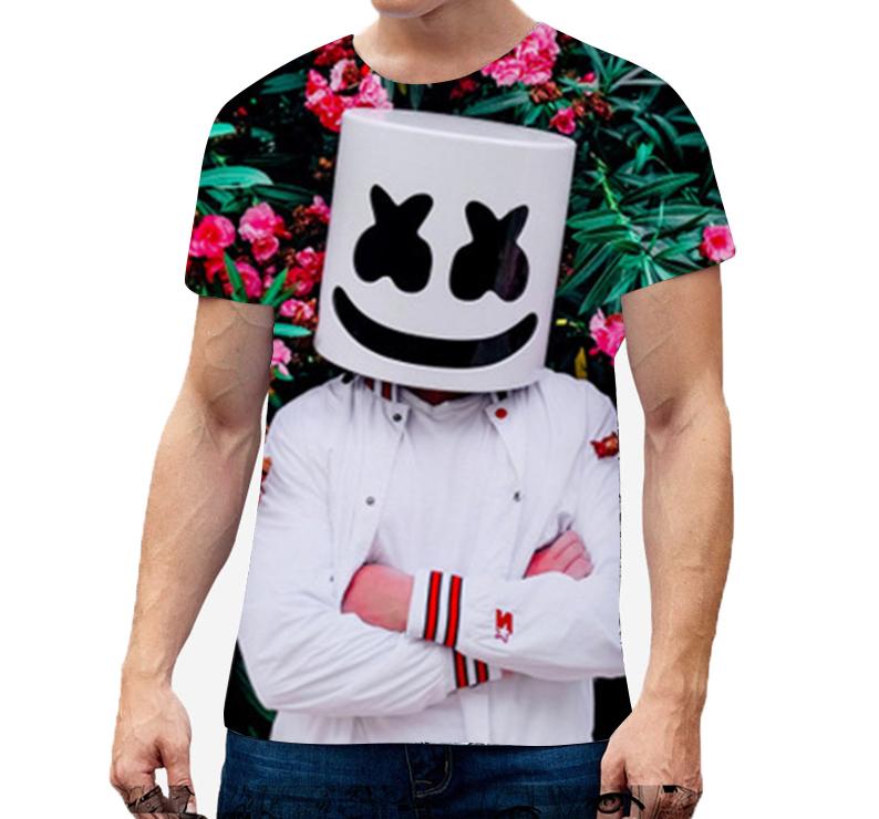 Unisex Vivid Color 3D DJ Marshmello Pattern Fashion Loose Casual Short Sleeve T-shirt D_XXL