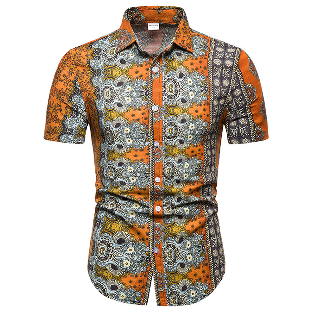 Men Summer Fashion Short Sleeve Breathable Casual Slim Shirt Tops Orange_M