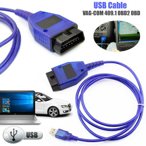 Car USB Vag-Com Interface Cable KKL VAG-COM 409.1 OBD2 II OBD Diagnostic Scanner Auto Cable Aux blue