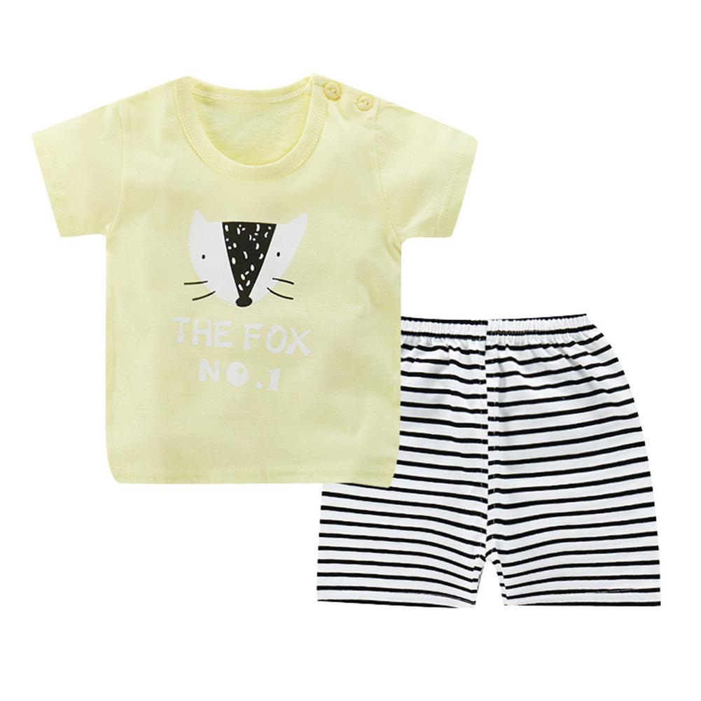 Children Unisex Vest Suits Short Sleeve Tops+Pants Breathable Clothes Light yellow-letter fox_75 # (110-120cm recommended)