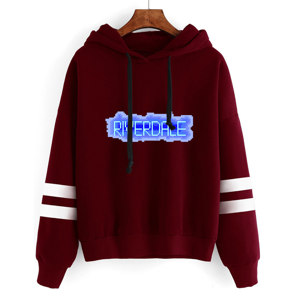 Men Women American Drama Riverdale Fleece Lined Thickening Hooded Sweater Wine red C_S