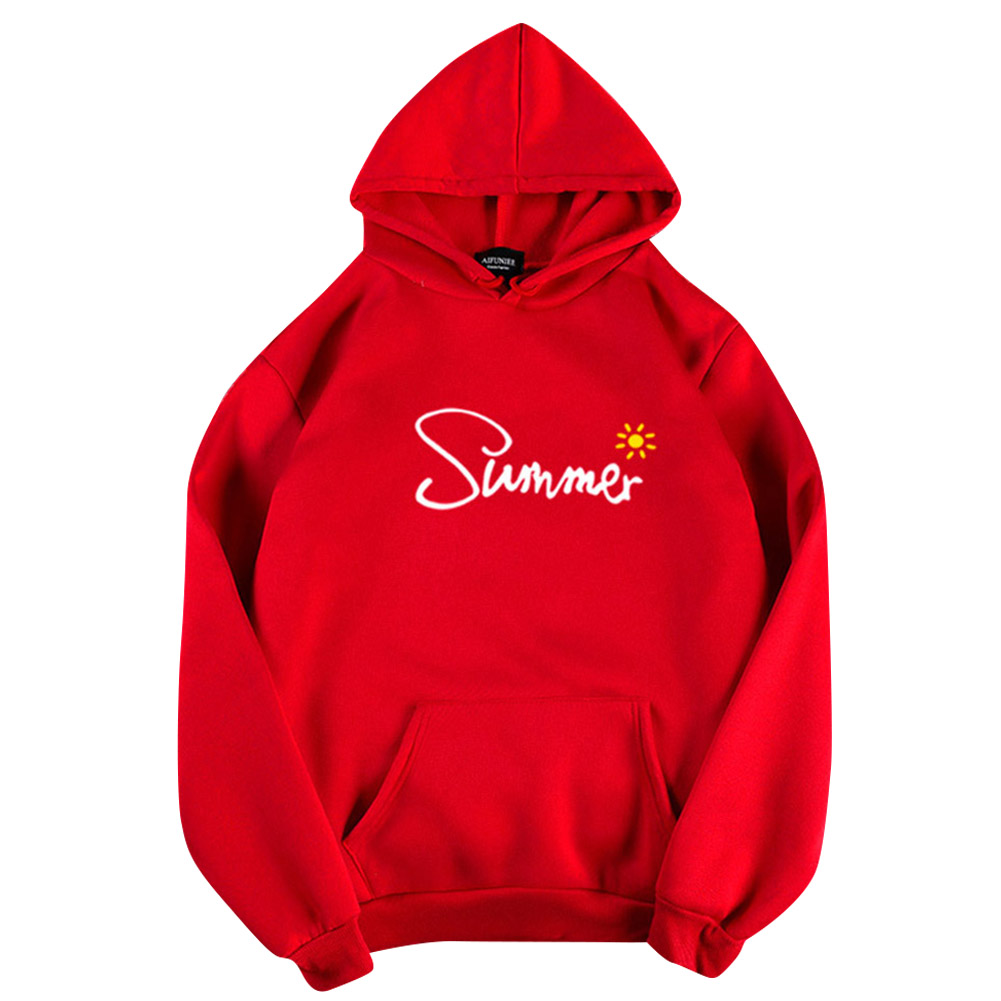 Men Women Hoodie Sweatshirt Thicken Velvet Summer Sun Loose Autumn Winter Pullover Tops Red_XXXL