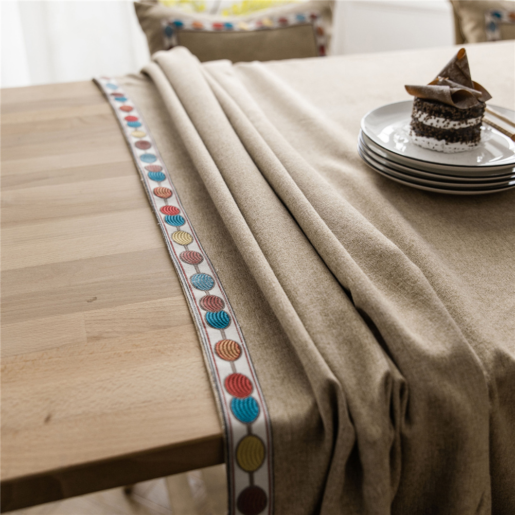 Waterproof Embroidery Table  Cloth Decorative Fabric Table Cover For Outdoor Indoor Coffee_140*140cm