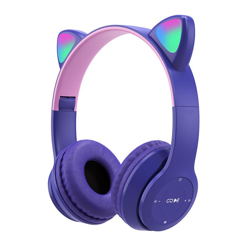 Wireless Headphones Cat Ear With Mic Bluetooth Cool Glow Light Stereo Bass Helmets Kids Gamer Girl Gifts Purple