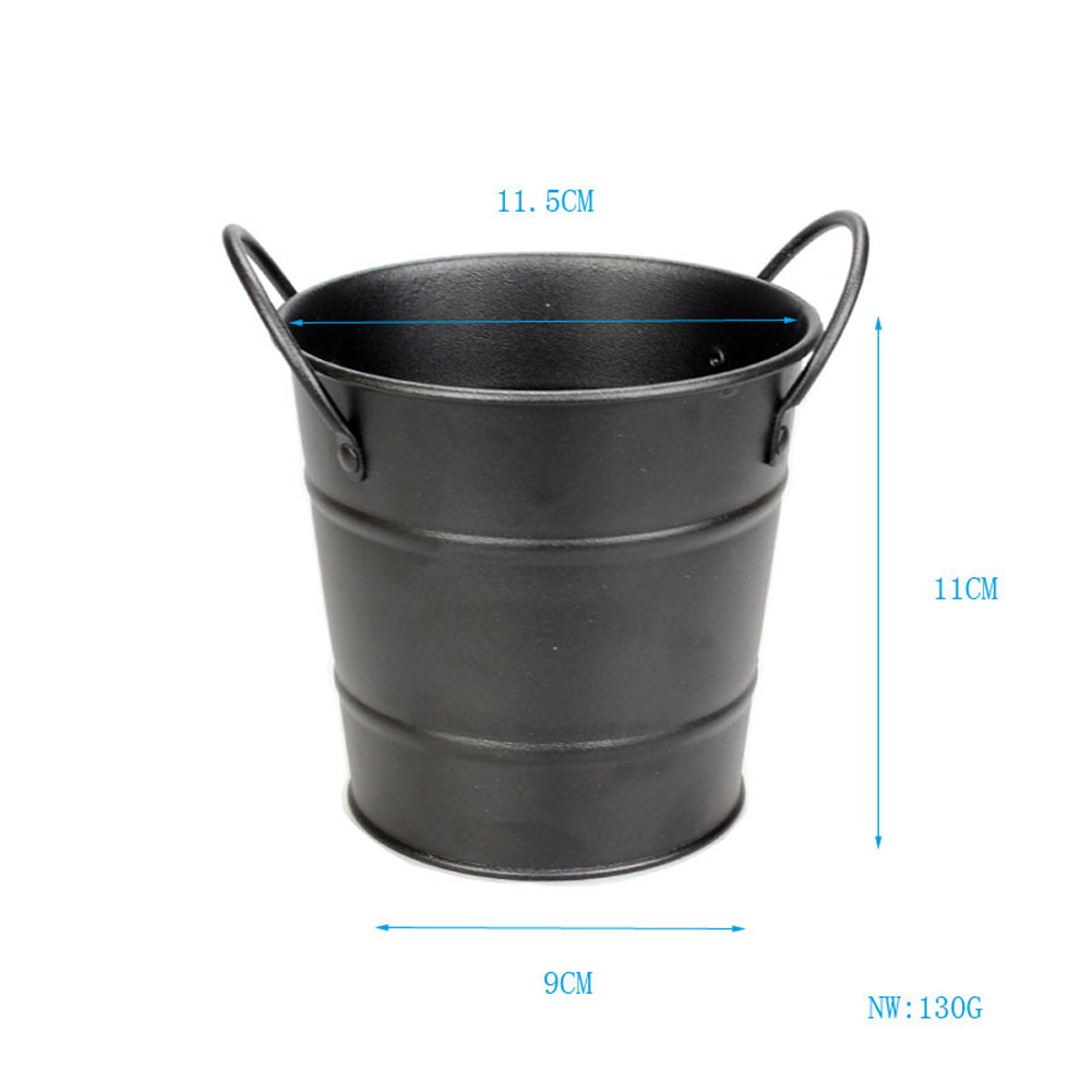 Stainless Steel Mini Snack Barrel Icing Bucket French Fries Tin Pails Black fries bucket