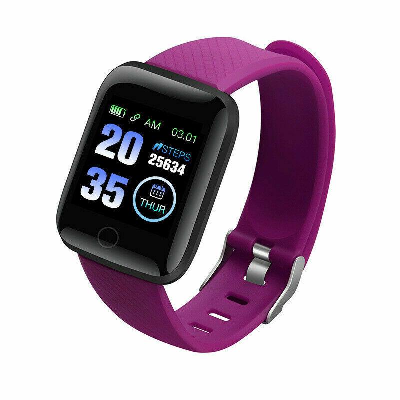 Smart  Bracelet Heart Rate Monitoring Information Synchronization Reminder Smart Watch Purple