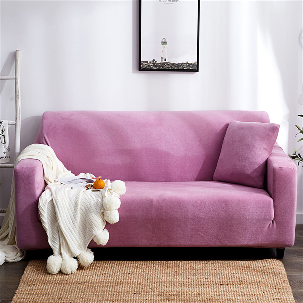 Plush Stretch Sofa Covers Stylish Furniture Cushions Sofa Slipcovers Winter Cover Protector  Light purple_Three people 190-230cm