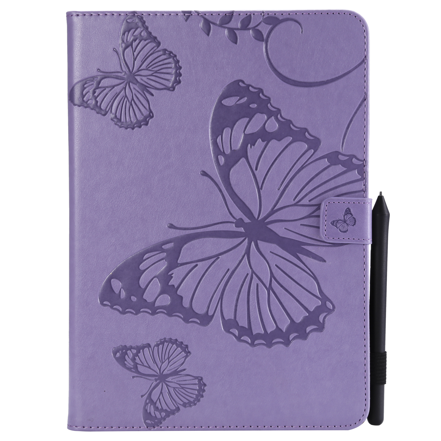 For iPad 5/6/air1/air2 9.7 Fashion Butterfly Embossed PU Leather Magnetic Closure Stand Case Auto Wake/Sleep Cover with Pen Slot purple