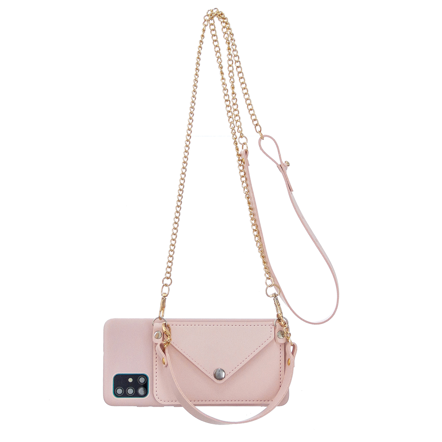 For HUAWEI P40/P40 Lite/P40 Pro Mobile Phone Cover with Pu Leather Card Holder + Hand Rope + Straddle Rope Pink