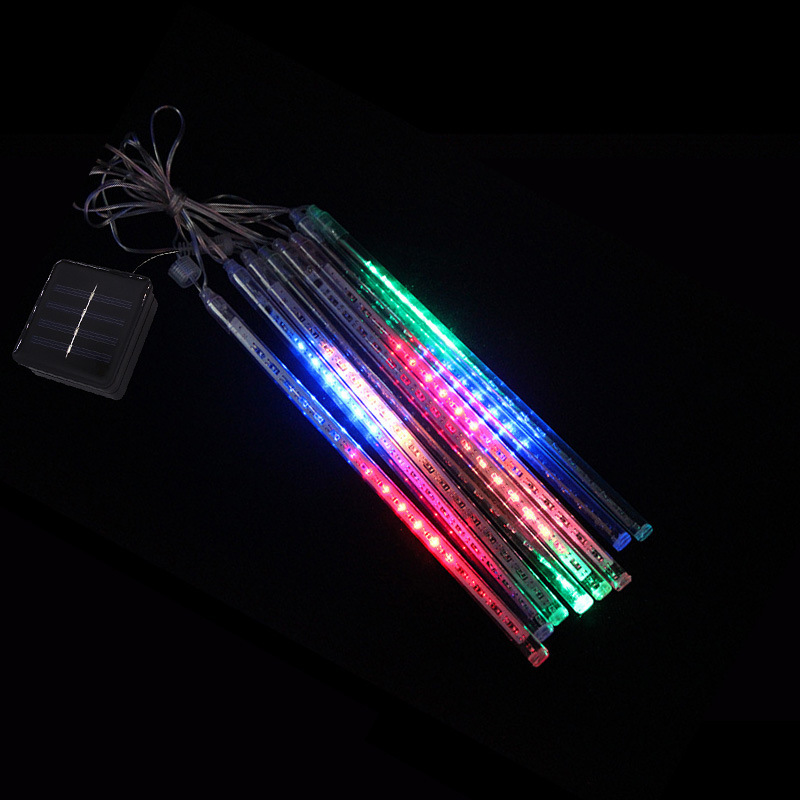 8 Tubes/Set LED 30cm Meteor Shower Solar Lamp Falling Rain Fairy String Lights Ultra Bright Drop Decoration Light colors