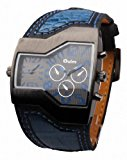 OULM Men`s Military Oversize Multi TimeZones 2 Dials Leather Analog Sports Wrist Watch HP1220B Blue Band Blue Face
