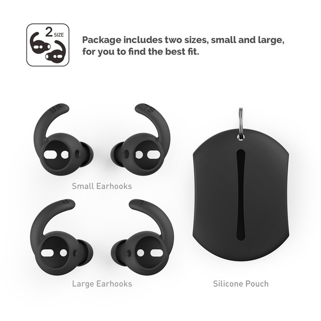2 Pairs Soft Silicone Ear Hooks Covers for Apple Airpods Earphone Case Eartips Hook Cap Pouch for Apple Airpods Accessories black