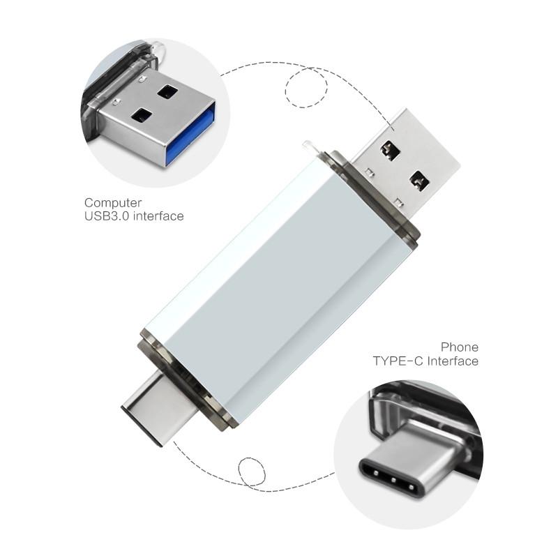 High Speed Type C USB3.1 U Disk L17- Aluminum Alloy Shell USB Flash Drive Silver_128G