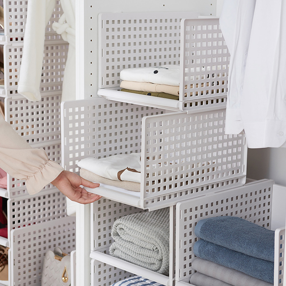 Foldable Stackable Drawer Type Storage Basket for Bedroom Wardrobe Closet Organize white_High