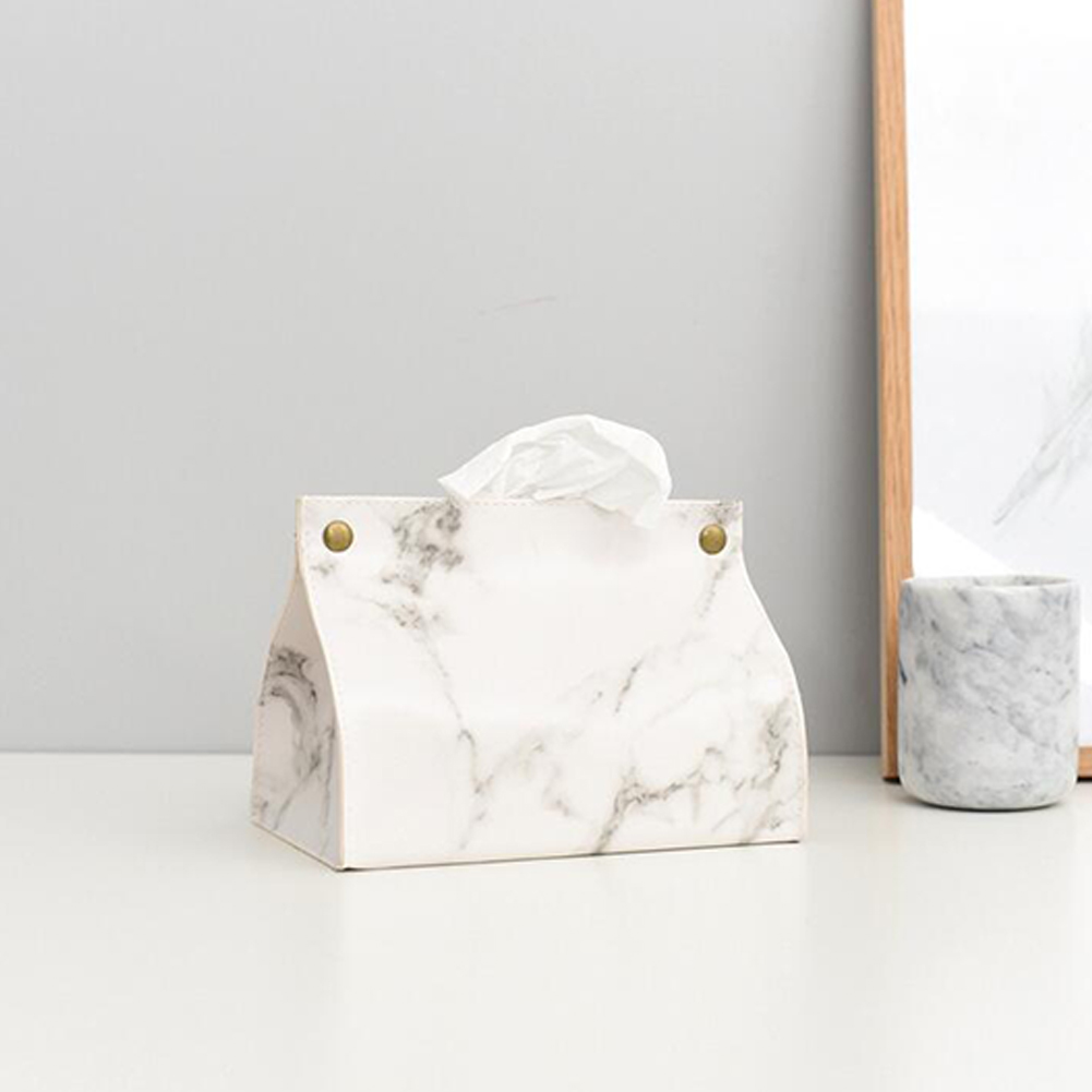 Marbled Leather Tissue Box Home Living Room Table Storage Towel Bag White marble