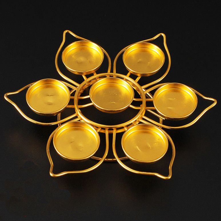 Home Lotus Shape Butter Lamp Holders Candlestick for the Buddha Single layer 7 plates