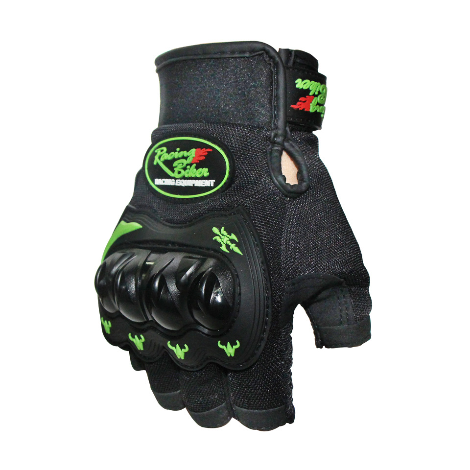 Motorcycle Hand Protection Mitten Cycling Half Finger Gloves dark green_XL