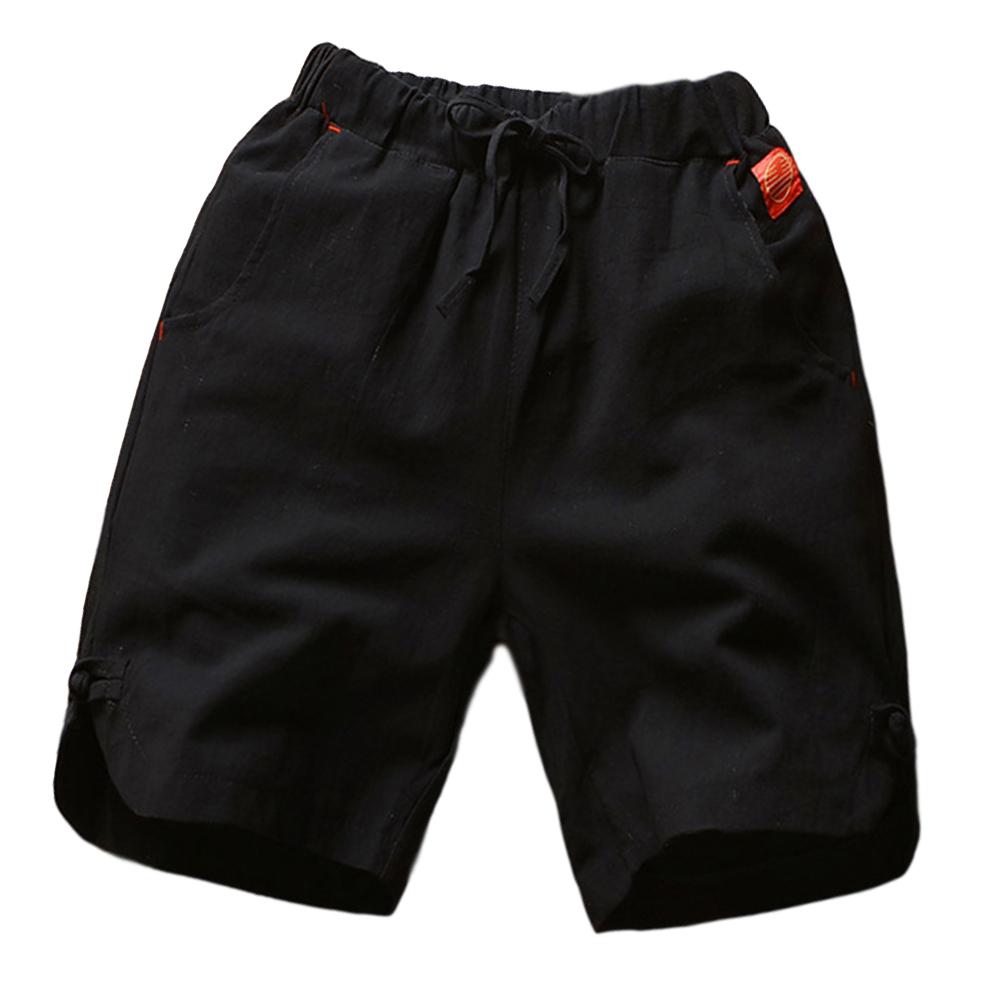 Men's Beach Pants Summer Cotton and Linen Solid Color Casual Fifth Pants Black _L