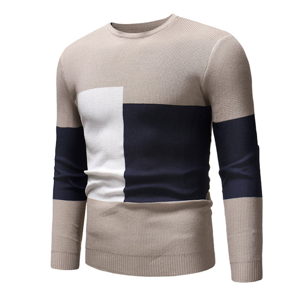 Male Sweater of Long Sleeves and Round Neck Casual Contrast Color Top Pullover Base Shirt apricot_XL