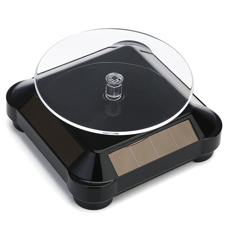Solar Powered 360 Degree Rotating Display Stand Turn Plate Turntable Display Stand for Jewelry Watch Ring Phone Decoration black_100*100*3.5MM