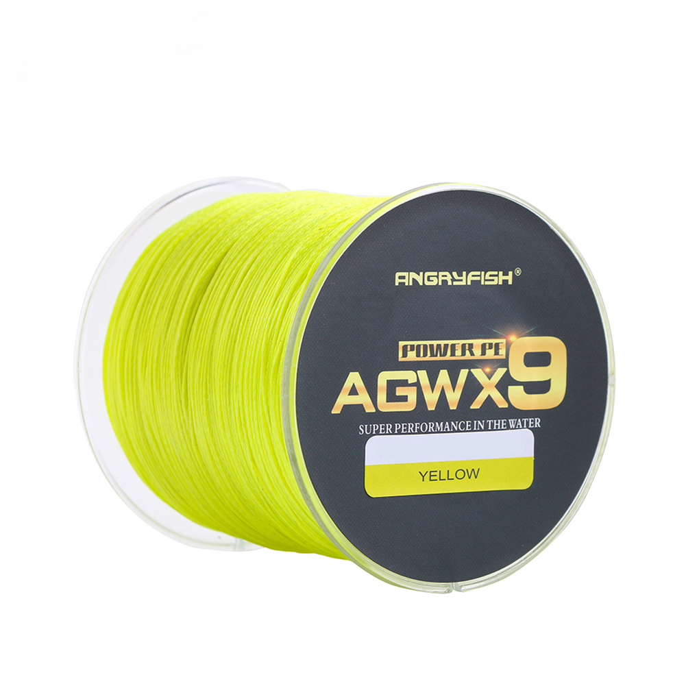 ANGRYFISH Diominate X9 PE Line 9 Strands Weaves Braided 500M/547YD  Super Strong Fishing Line 15LB-100LB Yellow 0.8#:0.14mm/20LB