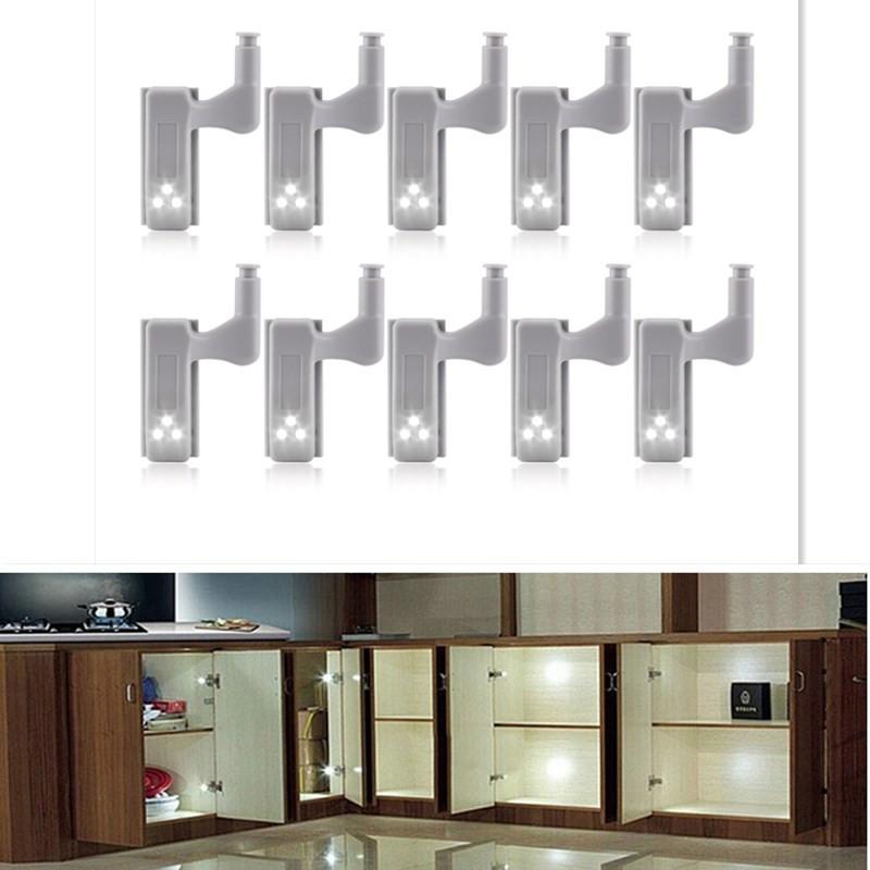 10Pcs LED Smart Touch Induction Cabinet Light Cupboard Inner Hinge Lamp Sensor Light Night Light for Closet Wardrobe  White light_10pcs with battery