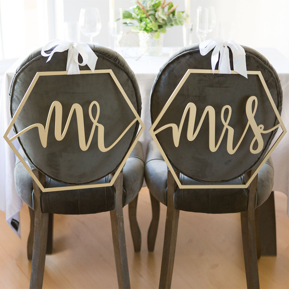 Wood Chair Flag Chairs Sign DIY Wedding Decoration for Engagement Wedding Party Supplies