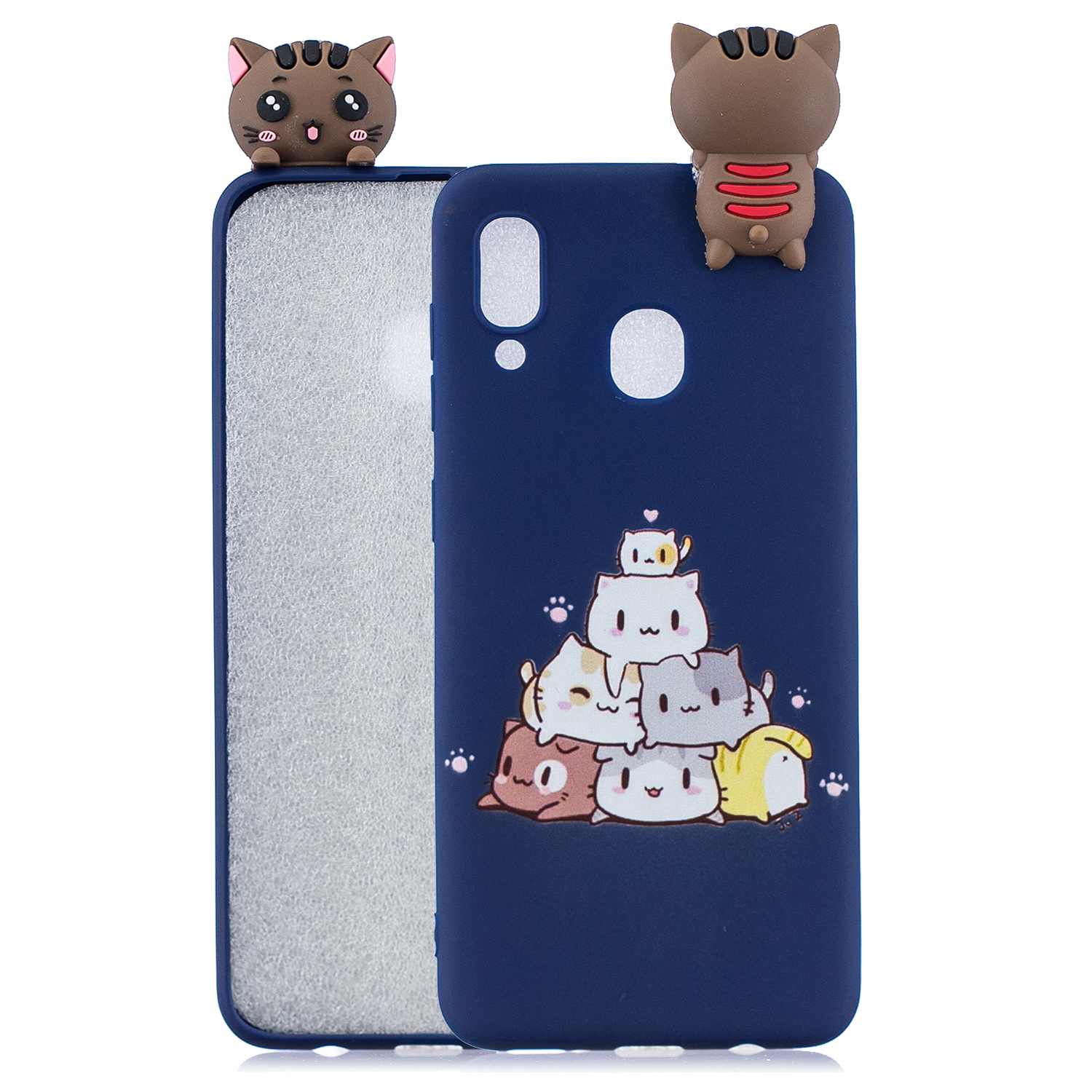 For Samsung M20 3D Cute Coloured Painted Animal TPU Anti-scratch Non-slip Protective Cover Back Case sapphire