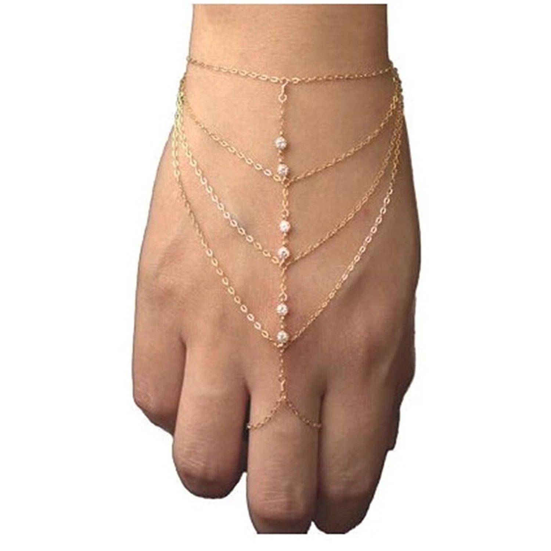 DDU(TM) 1Pcs Five Chains Link Finger Ring Tassel Diamond Bracelet Bangle Finger Wrist Chain Christmas Birthday Gift
